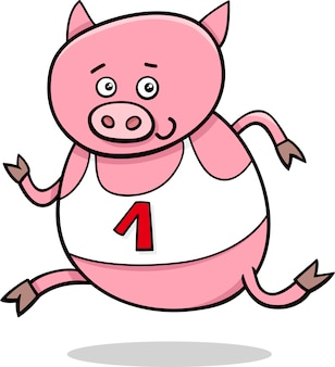 돼지 만화 일러스트 레이 션을 실행