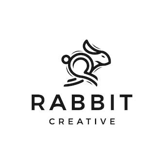 Дизайн логотипа линии бегущего кролика monoline
