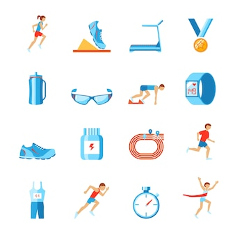 Бег гонки спорта деятельности плоский набор фитнес-одежды обувь и бегун иконки изолированных векторной иллюстрации