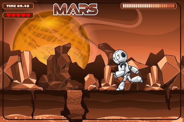 Running robot on mars. excerpt from the game.