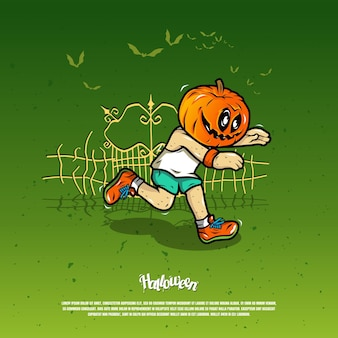 Running scare with pumpkin mask illustration