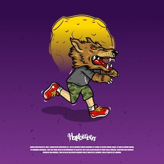 Running scare with werewolf mask illustration