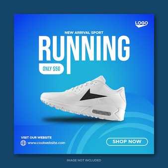 Running shoes sale social media facebook post template