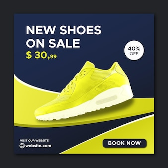 Running shoes social media and instagram post and facebook banner