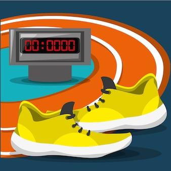 Концепция спортивного соревнования бегущей обуви