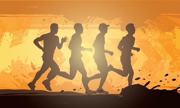 Running silhouettes trail running marathon runner