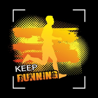 Running silhouettes vector illustration on grunge
