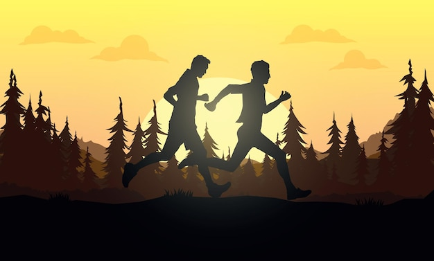 Бегущие силуэты. векторная иллюстрация, бег по пересеченной местности, марафонец.