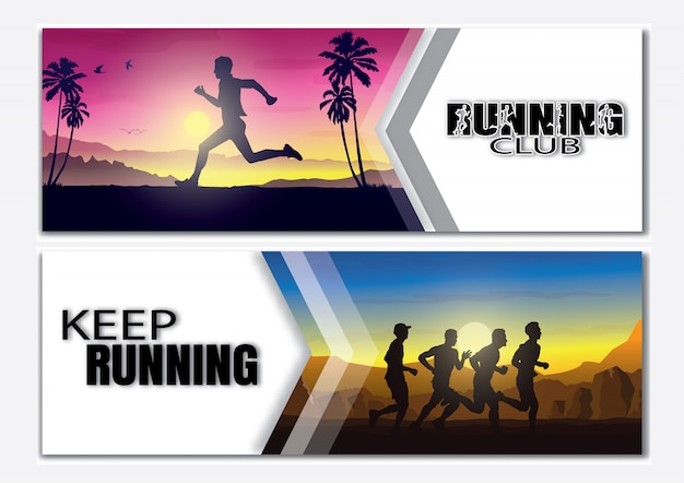 Running silhouettes vector illustration.