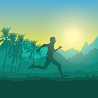 Running silhouettes vector illustration.