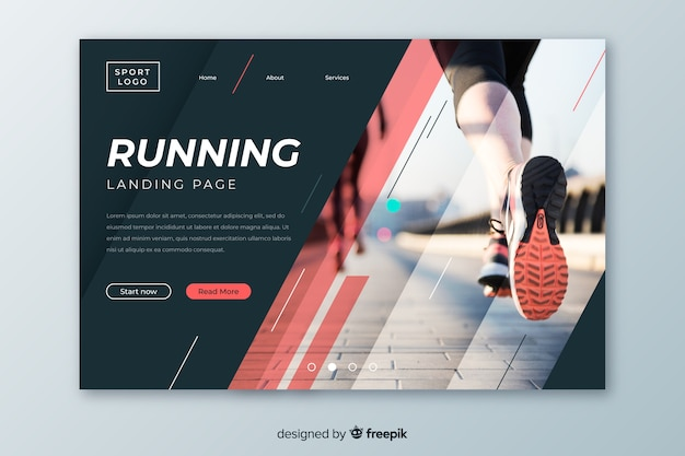 Running sport landing page with photo