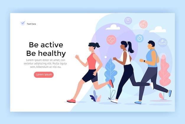 ランニングスポーツの人々は、webデザインに最適なアクティブで健康的なライフスタイルのコンセプトイラストになります