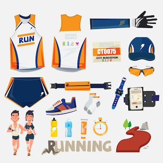 Running sport with equipment set