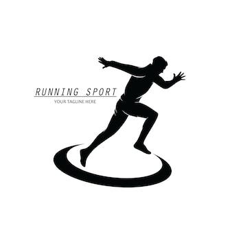 Бег спортивный логотип силуэт