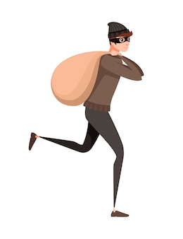 Running thief during robbery with bag cartoon character design flat vector illustration