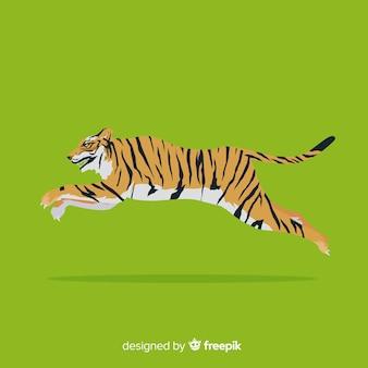 走っている虎の背景
