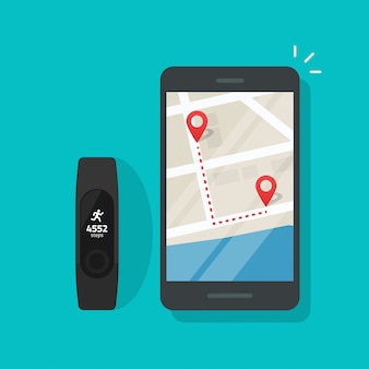 Running track route on map of mobile phone or cellphone connected to smart bracelet wristband Premium Vector
