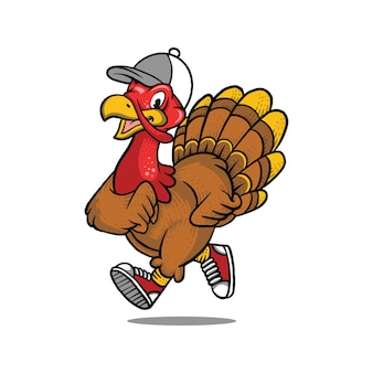 Running turkey mascot template