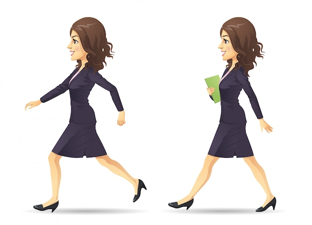 Running and walking businesswoman