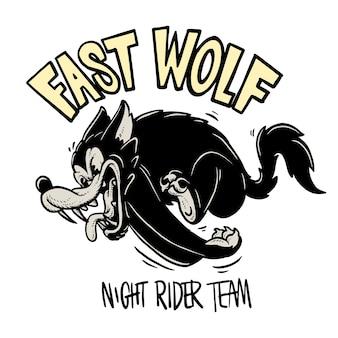 Running wolf cartoon illustration
