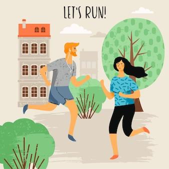 Бегущая женщина и мужчина. здоровый образ жизни.