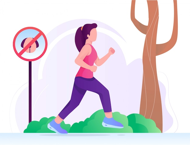 Running woman flat illustration in park