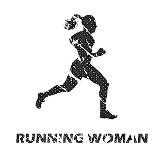 ランニング女性イラスト。クリエイティブでスポーツスタイルのイメージ