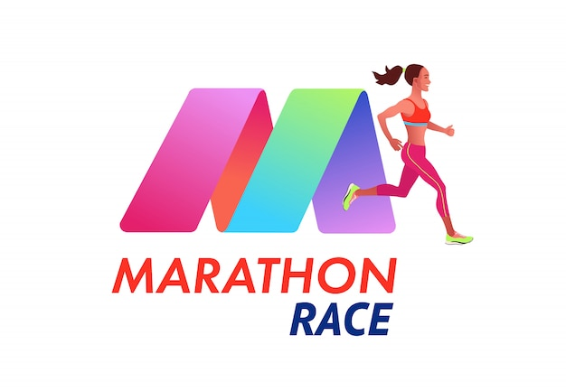 Running woman. marathon logo type template. sports competition, workout or exercise, athletics.