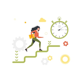 Running woman up the career ladder, stopwatch. vector illustration