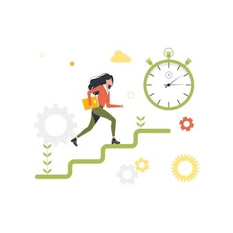 Бегущая женщина по карьерной лестнице, секундомер. векторная иллюстрация