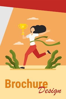 Running woman winning racing. marathon leader holding cup, crossing line with red ribbon flat vector illustration. competition, prize, trophy concept