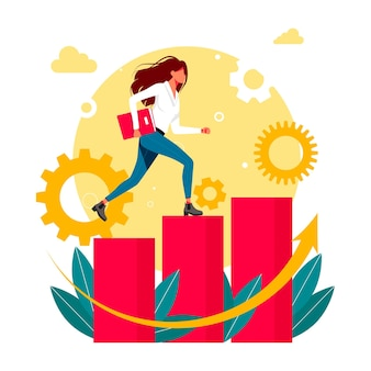 Running woman with documents in hand up the career ladder. vector illustration