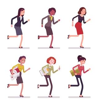 Running women in casual wear