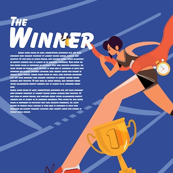Running women at finish line  illustration