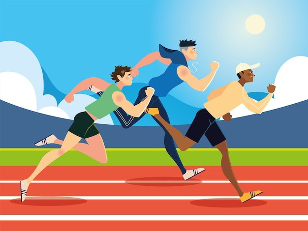 Running young men sport in the race track illustration