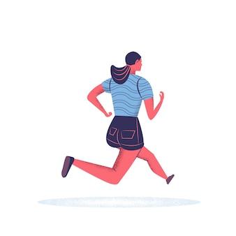 Бегущая молодая женщина в спортивной одежде.
