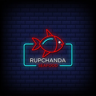 Rupchanda seafood neon signs style text