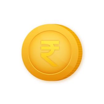 Монета рупия, отличный дизайн для любых целей. плоский стиль векторные иллюстрации. значок валюты.