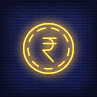 Rupee coin on brick background. Neon style illustration. Money, cash, exchange rate