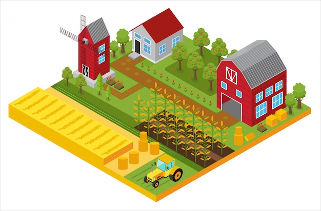 Rural 3d farm isometric template with mill, garden, trees, agricultural vehicles, farmer house and greenhouse game or app  illustration.