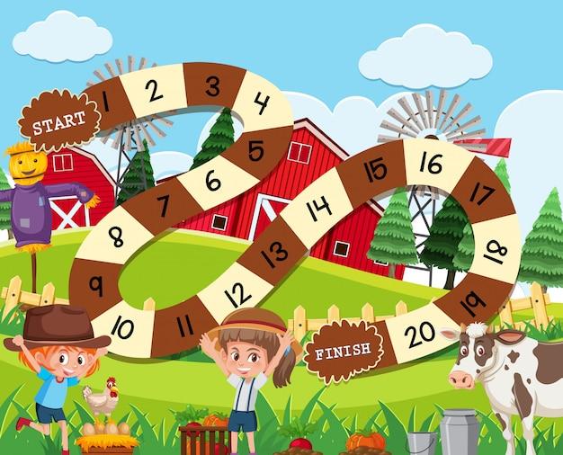 A rural board game template