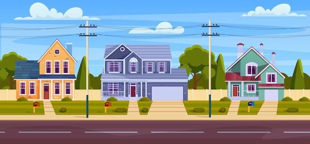 시골 오두막, 차고와 푸른 나무가 있는 현대적인 건물이 있는 교외 거리. 코티지 부동산 귀여운 타운 개념입니다. 평면 스타일의 벡터 일러스트 레이 션 프리미엄 벡터