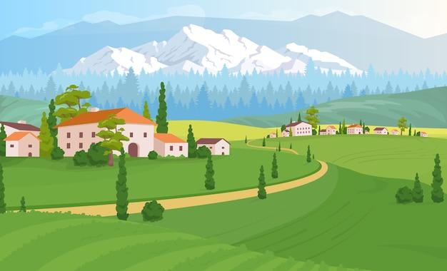 Сельский жилой пейзаж плоский цветной рисунок