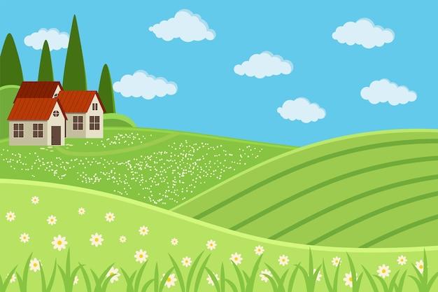 Сельская ферма пейзажная сцена с домами. летний деревенский пейзаж фон с зелеными полями, лугом, деревней, облаками, травой, цветами, деревьями, голубым небом. плоский дизайн мультяшном стиле векторные иллюстрации.