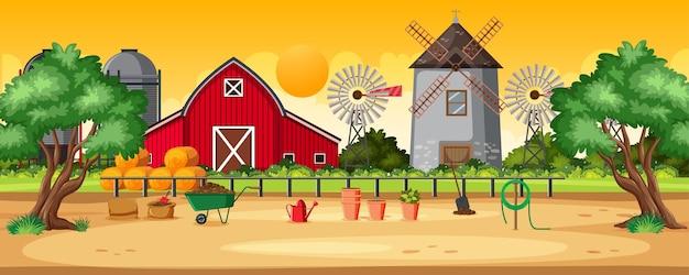 시골 농장 풍경 일몰