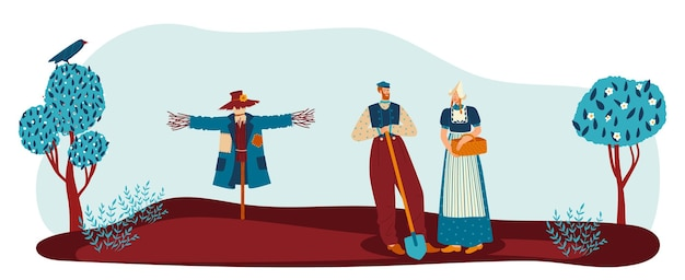農夫のカップルと田舎の庭ベクトルイラスト女性男性人キャラクター一緒にガーデニング民族の服で農夫