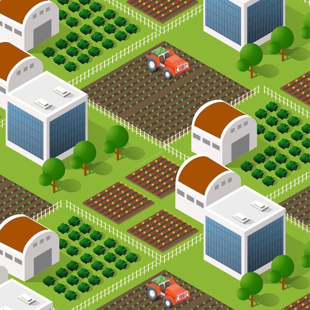 침대와 구조물이 있는 시골 아이소메트릭 자연 생태 농장