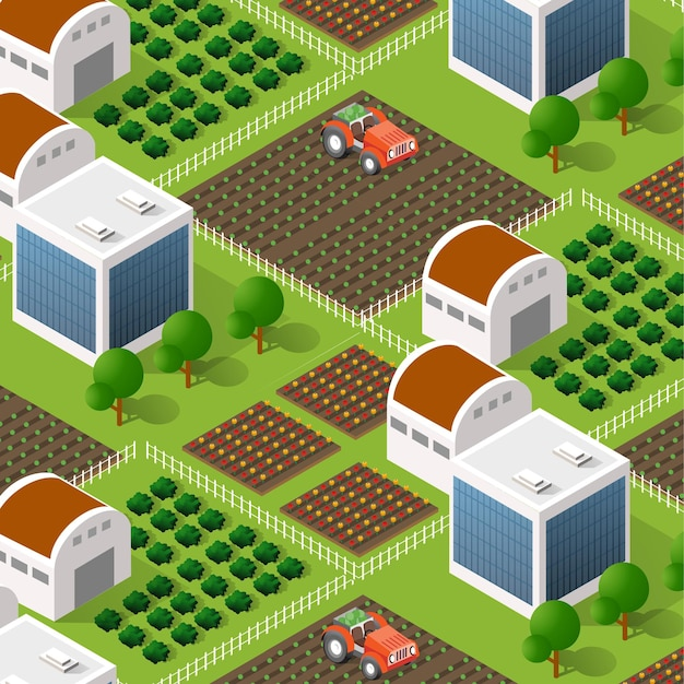 Rural isometric nature ecological farm with beds and structures