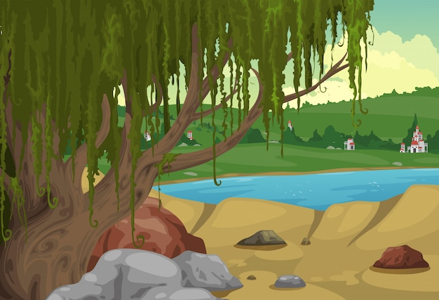 Rural landscape background vector