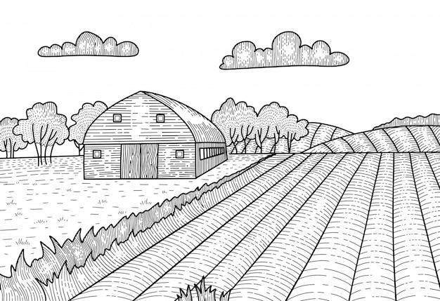 Сельский пейзаж в графическом стиле гравюры. рисованной эскиз превращается в иллюстрации. деревня с фермы, сарай дом.